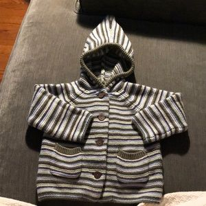 pixie hood button up knit sweater 6-12mo